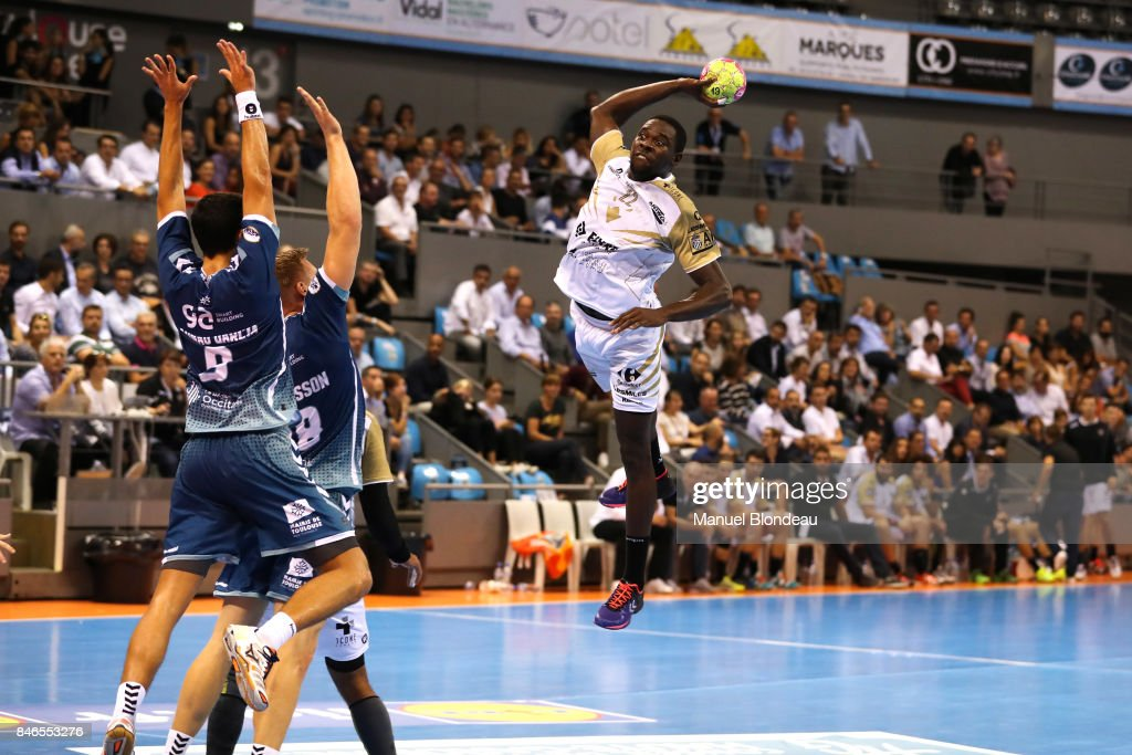 Karl Olivier Konan of Aix during Lidl Star Ligue match between Fenix Toulouse and Pays D'aix Universite Club on September 13, 2017 in Toulouse, France.