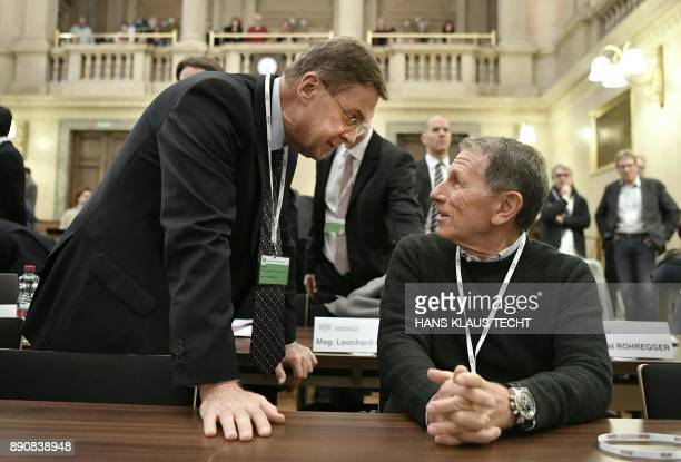Karl Petrikovics and businessman Peter Hochegger wait for the start of their trial concerning the commissions paid upon the privatization of the...