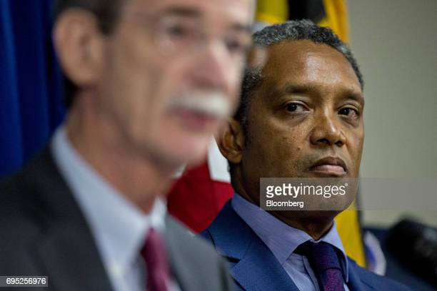Karl Racine District of Columbia attorney general listens during a news conference in Washington DC US on Monday June 12 2017 President Donald...
