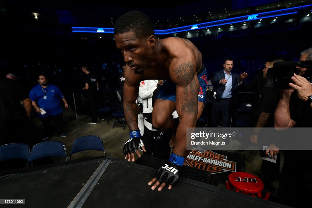 Karl Roberson prepares to enter the Octagon prior to facing Darren Stewart of England in their middleweight bout during the UFC Fight Night event inside the Ted Constant Convention Center on November 11, 2017 in Norfolk, Virginia.