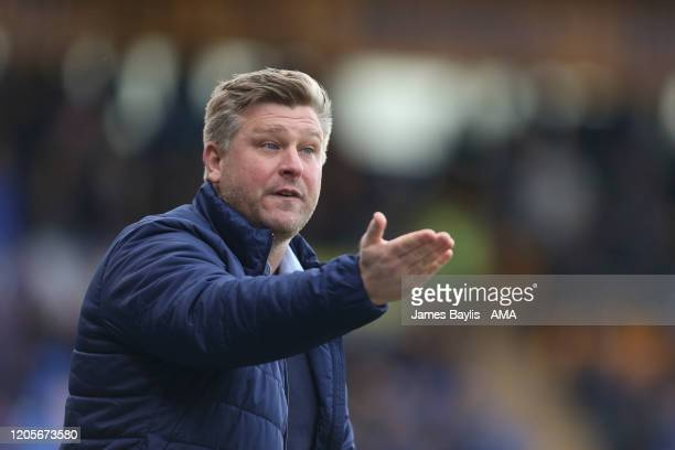Karl Robinson the head coach / manager of Oxford United during the Sky Bet League One match between Shrewsbury Town and Oxford United at Montgomery...