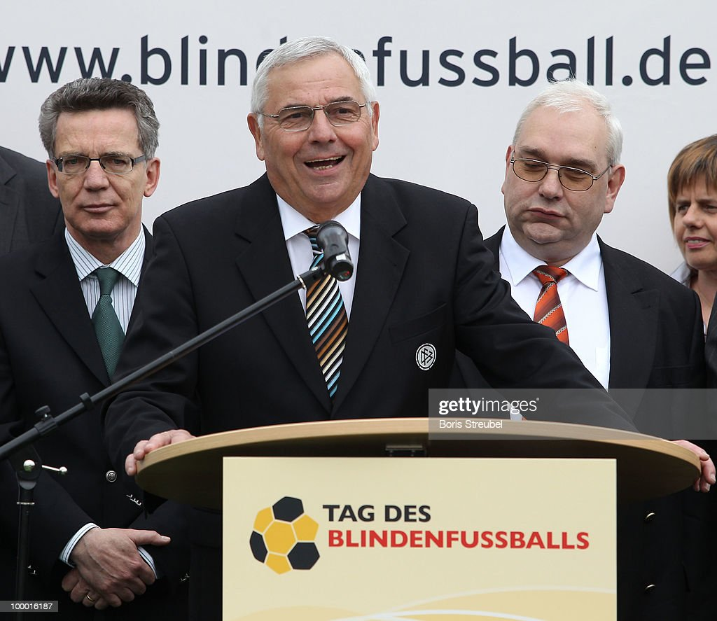 Karl Rothmund, vice president of the German Football Association (DFB) and head of the Sepp-Herberger-Stiftung holds a speech on the 'Day of Blind Football�' in front of the Reichstag on May 20, 2010 in Berlin, Germany.