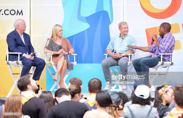 Karl Rove Chelsea Handler Tom Steyer and Carlos Watson speak onstage during OZY Fest 2018 at Rumsey Playfield Central Park on July 22 2018 in New...