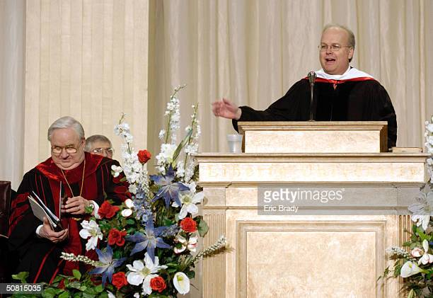 Karl Rove chief political advisor to President Bush speaks as the Rev Jerry Falwell listens during commencement of Falwell's Liberty University May 8...
