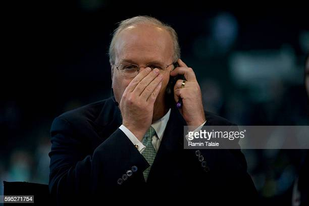Karl Rove former White House advisor and current TV commentator speaks into his cell phone on the set Fox News on the second day of the Republican...