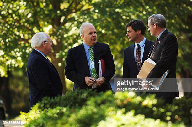 Karl Rove George W Bush's top political adviser center and Vice President Dick Cheney and National Security Advisor Stephen Hadley right and anther...