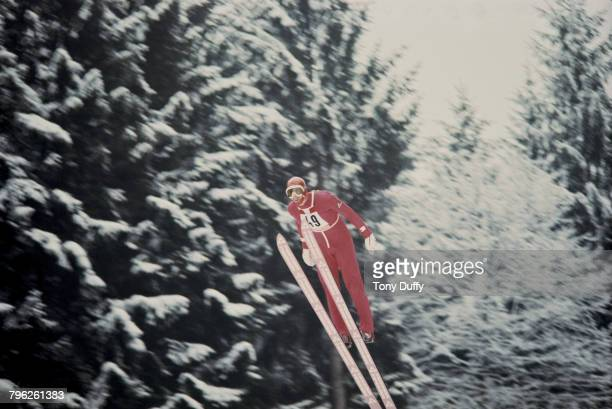 Karl Schnabl of Austria launches off the ramp during the Men's 90 metre large hill individual ski jumping event at the XII Olympic Winter Games on 15...