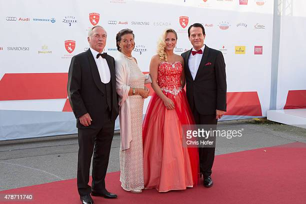 Karl Schranz with his wife Evelyn and Gregor Glanz with Daniela Hentze attend the gala event 450 years Spanische Hofreitschule on June 26 2015 in...