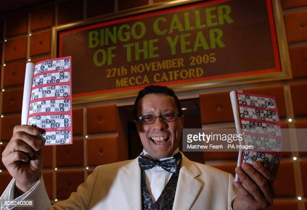 Karl Seth 28 from the Buckingham Bingo Club in Manchester celebrates at the Catford Mecca bingo club in south east London Sunday 27 November after...