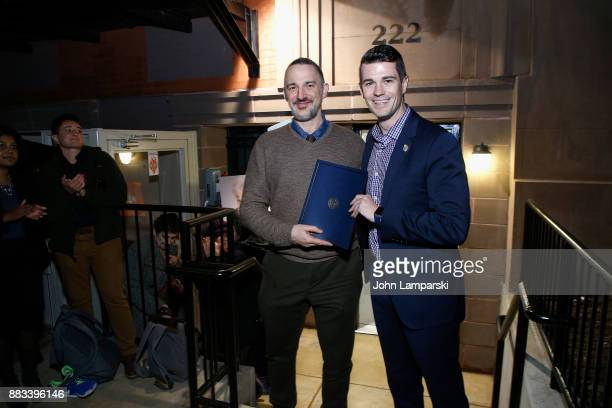 Karl Siciliano and New york City office of the Mayor senior advisor, Matthew T. McMorrow attend The Bea Arthur Residence Building dedication on...