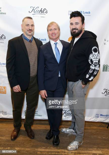 Karl Siciliano, Matthew Saks and the President of Kiehl's Chris Salgardo attends The Bea Arthur Residence Building dedication on November 30, 2017 in...