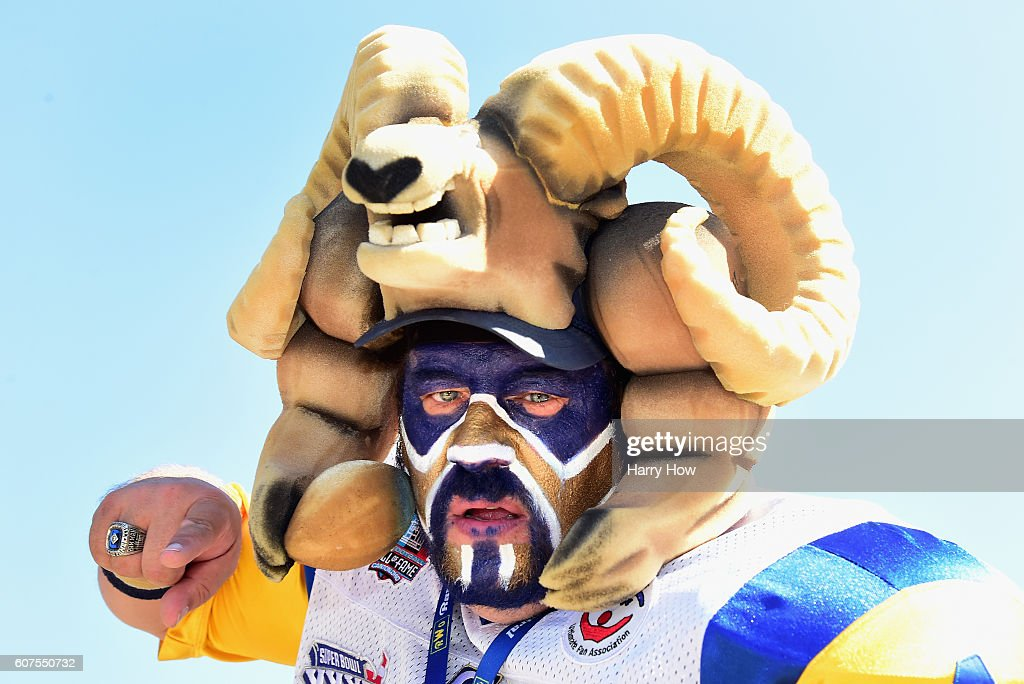 Karl Sides, 'The Ram Man', poses whiles tailgating before the start of the game between the Los Angeles Rams and the Seattle Seahawks at Los Angeles Coliseum on September 18, 2016 in Los Angeles, California.