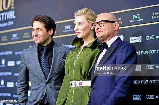 Karl Spoerri Cate Blanchett and Georges Kern attend the 'Blue Jasmine' Green Carpet Arrivals during Day 3 of Zurich Film Festival 2014 on September...