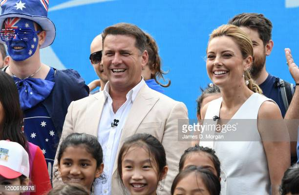 Karl Stefanovic and Allison Langdon on the set of Channel Nine's Today show at the 2020 Australian Open at Melbourne Park on January 20 2020 in...