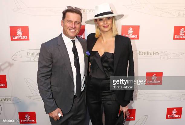 Karl Stefanovic and Jasmine Yarbrough attend the Emirates Marquee on Derby Day at Flemington Racecourse on November 4 2017 in Melbourne Australia