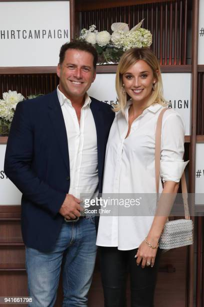 Karl Stefanovic and Jasmine Yarbrough attend the Witchery x OCRF White Shirt Campaign Launch on April 4 2018 in Sydney Australia