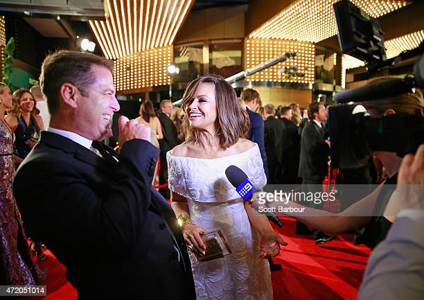 Karl Stefanovic and Lisa Wilkinson arrive at the 57th Annual Logie Awards at Crown Palladium on May 3 2015 in Melbourne Australia