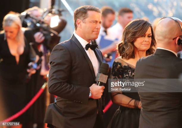 Karl Stefanovic and Lisa Wilkinson arrive at the 59th Annual Logie Awards at Crown Palladium on April 23 2017 in Melbourne Australia