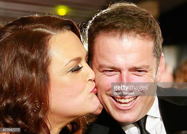 Karl Stefanovic is kissed by Chrissie Swan at the 57th Annual Logie Awards at Crown Palladium on May 3 2015 in Melbourne Australia