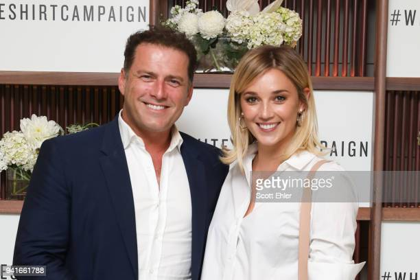 Karl Stefanovic Jasmine Yarbrough attend the Witchery x OCRF White Shirt Campaign Launch on April 4 2018 in Sydney Australia