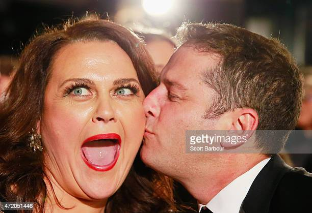 Karl Stefanovic kisses Chrissie Swan at the 57th Annual Logie Awards at Crown Palladium on May 3 2015 in Melbourne Australia