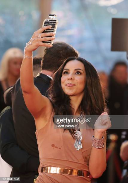 Karl Stefanovic poses for a selfie with Kat Hoyos from 'Here Come the Habibs' at the 59th Annual Logie Awards at Crown Palladium on April 23 2017 in...