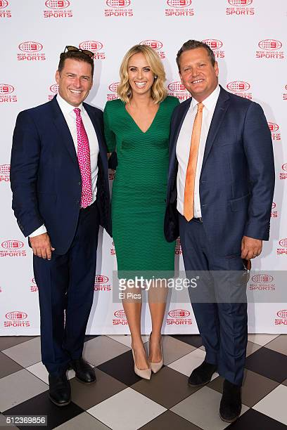 Karl Stefanovic Sylvia Jeffreys Tim Gilbert attend the Channel Nines 2016 NRL Launch at The Greens North Sydney on February 26 2016 in Sydney...