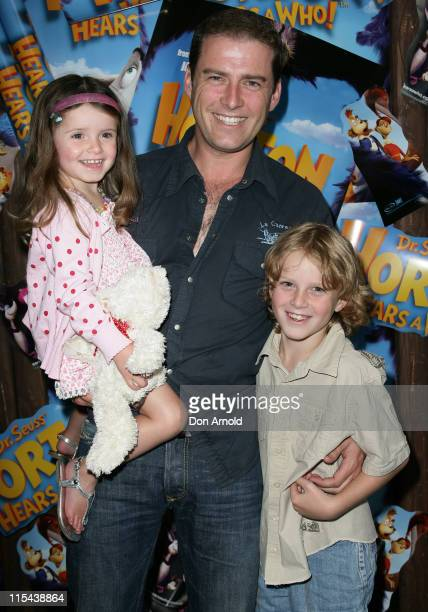 Karl Stefanovic with children Ava and Jack attend the Australian premiere of 'Horton Hears a Who' at the Hoyts Cinema on March 9 2008 in Sydney...