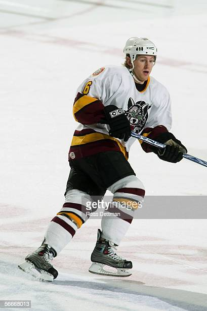 Karl Stewart of the Chicago Wolves skates against the Peoria Rivermen at Allstate Arena on December 11 2005 in Rosemont Illinois The Wolves won 41