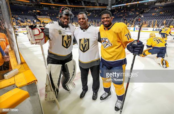 Karl Subban poses with his sons PK Subban of the Nashville Predators and Malcolm Subban of the Vegas Golden Knights prior to an NHL game at...