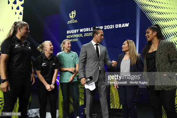 Karl Te Nana speaks to the Black Ferns during the Rugby World Cup 2021 Draw event at the SKYCITY Theatre on November 20, 2020 in Auckland, New...