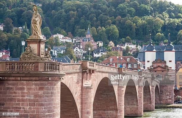 karl theodor bridge with stadttor gate, in heidelberg - heidelberg germany stock pictures, royalty-free photos & images