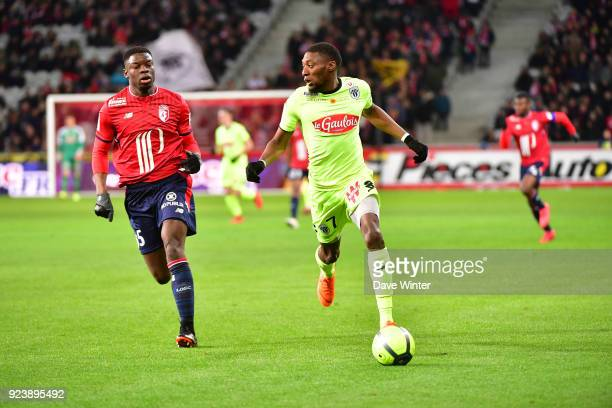 Karl Toko Ekambi of Angers and Adama Soumaoro of Lille during the Ligue 1 match between Lille OSC and Angers SCO at Stade Pierre Mauroy on February...