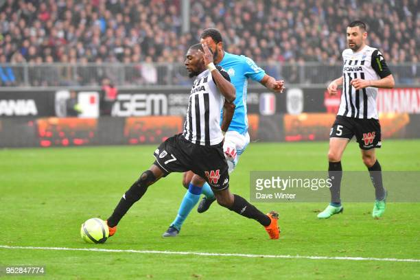 Karl Toko Ekambi of Angers and Jorge Pires Da Fonseca Rolando of Marseille during the Ligue 1 match between Angers SCO and Olympique Marseille at...