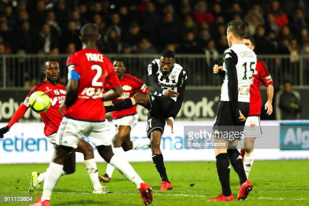 Karl Toko Ekambi of Angers during the Ligue 1 match between Angers SCO and Amiens SC at Stade Raymond Kopa on January 27 2018 in Angers