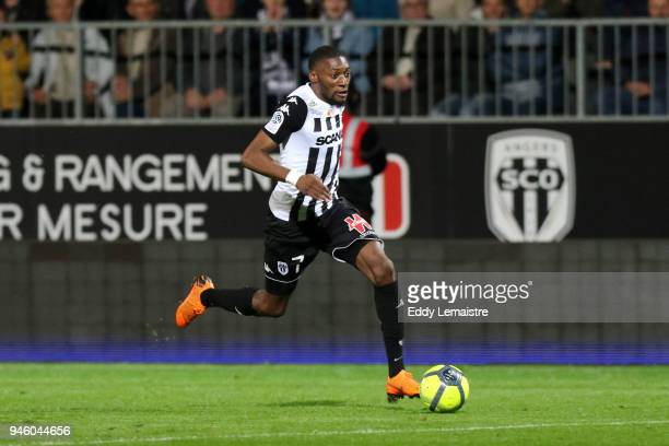 Karl Toko Ekambi of Angers during the Ligue 1 match between Angers SCO and OGC Nice at Stade Raymond Kopa on April 13 2018 in Angers