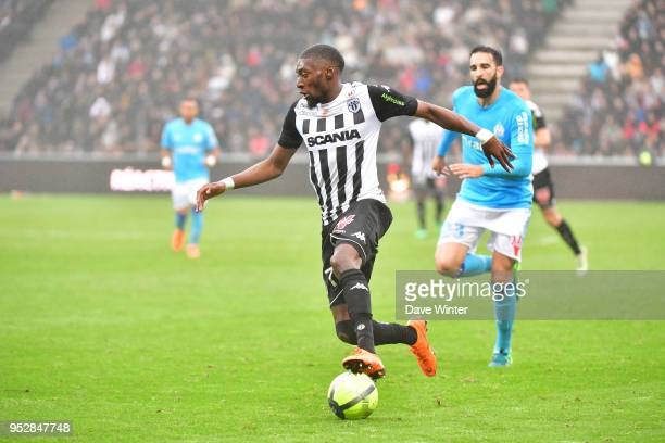 Karl Toko Ekambi of Angers during the Ligue 1 match between Angers SCO and Olympique Marseille at Stade Raymond Kopa on April 29 2018 in Angers