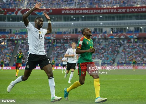Karl Toko Ekambi of Cameroon in action against Antonio Ruediger of Germany during the FIFA Confederations Cup 2017 soccer match between Cameroon and...