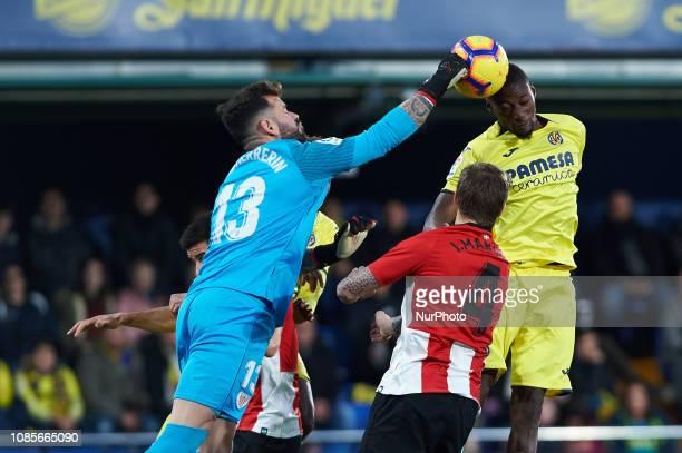 Karl Toko Ekambi of Villarreal and Yago Herrerin of Athletic Club de Bilbao during the La Liga Santander match between Villarreal and Athletic Club...
