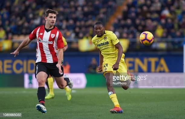 Karl Toko Ekambi of Villarreal and Yeray Alvarez of Athletic Club de Bilbao during the La Liga Santander match between Villarreal and Athletic Club...