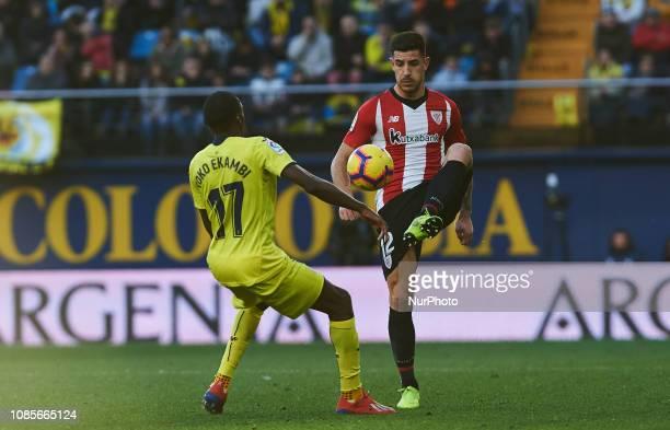 Karl Toko Ekambi of Villarreal and Yuri Berchiche of Athletic Club de Bilbao during the La Liga Santander match between Villarreal and Athletic Club...