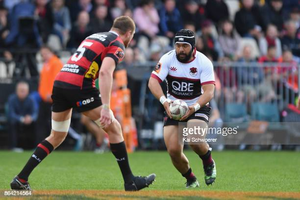 Karl Tu'inukuafe of North Harbour charges forward during the Mitre 10 Cup Semi Final match between Canterbury and North Harbour at AMI Stadium on...