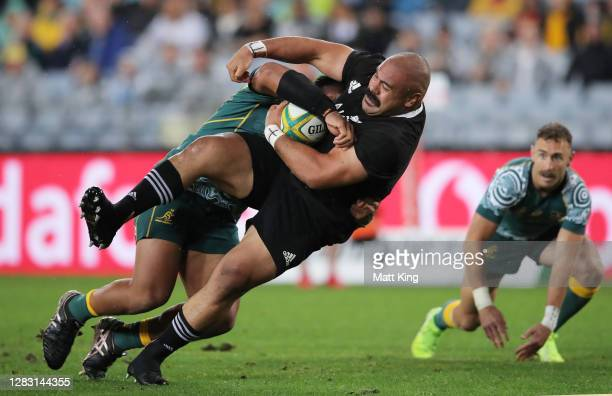 Karl Tu'Inukuafe of the All Blacks scores a try during the 2020 Tri-Nations and Bledisloe Cup match between the Australian Wallabies and the New...