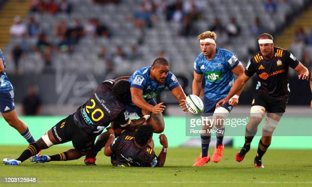 Karl Tu'inukuafe of the Blues knocks on the ball during the round one Super Rugby match between the Blues and the Chiefs at Eden Park on January 31,...