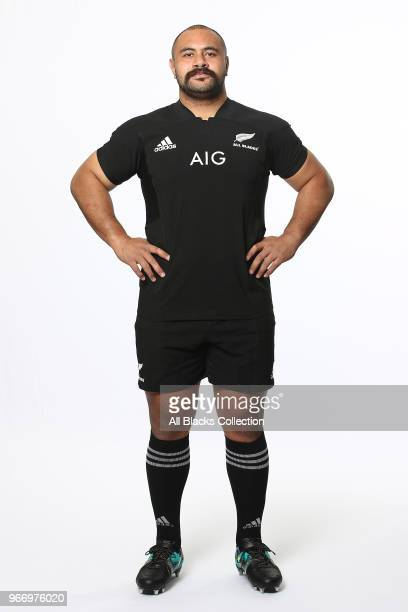 Karl Tu'inukuafe poses during a New Zealand All Blacks headshots session on June 3 2018 in Auckland New Zealand