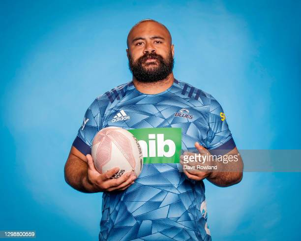 Karl Tu'inukuafe poses during the Blues 2021 Super Rugby Aotearoa headshots session at Blues HQ on January 25, 2021 in Auckland, New Zealand.