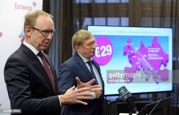 Karl Ulrich Garnadt Lufthansa board member responsible for Eurowings and Michael Kerkloh CEO of Munich airport speaking during a press conference in...