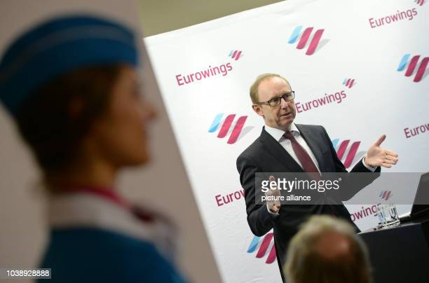 Karl Ulrich Garnadt Lufthansa board member responsible for Eurowings speaking during a press conference in Munich Germany 21 December 2016 Eurowings...