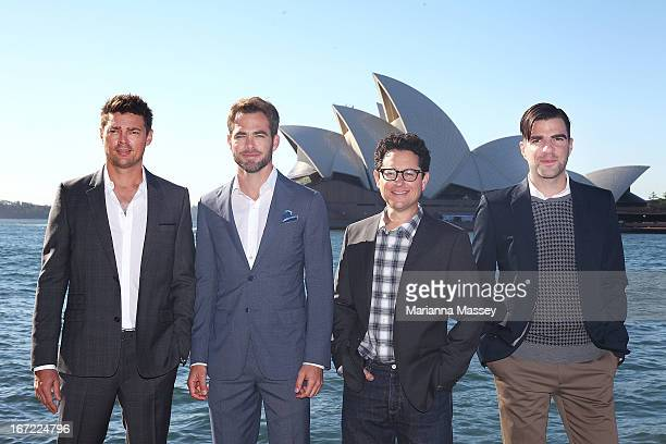 Karl Urban Chris Pine JJ Abrams and Zachary Quinto at the 'Star Trek Into Darkness' photo call on April 23 2013 in Sydney Australia