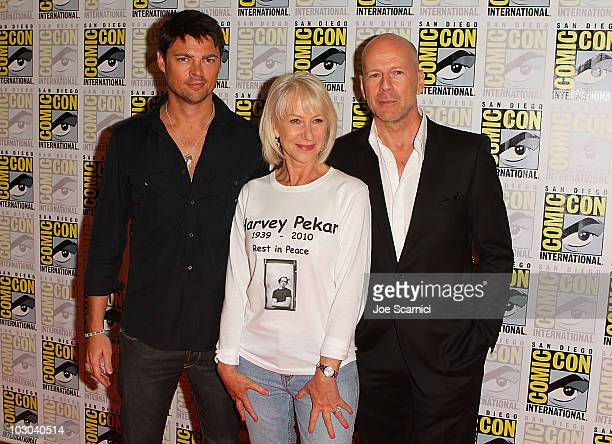 Karl Urban Helen Mirren and Bruce Willis attend the Red press line on Day 1 of the 2010 ComicCon International at San Diego Convention Center on July...